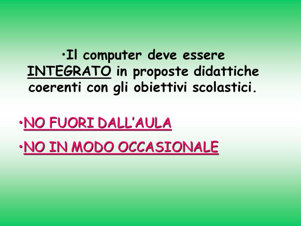 Il computer deve essere INTEGRATO in proposte didattiche coerenti con gli obiettivi scolastici.