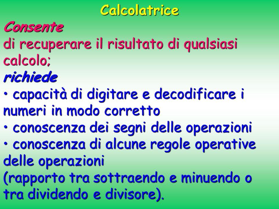 Calcolatrice Consente. di recuperare il risultato di qualsiasi calcolo; richiede. • capacità di digitare e decodificare i numeri in modo corretto.