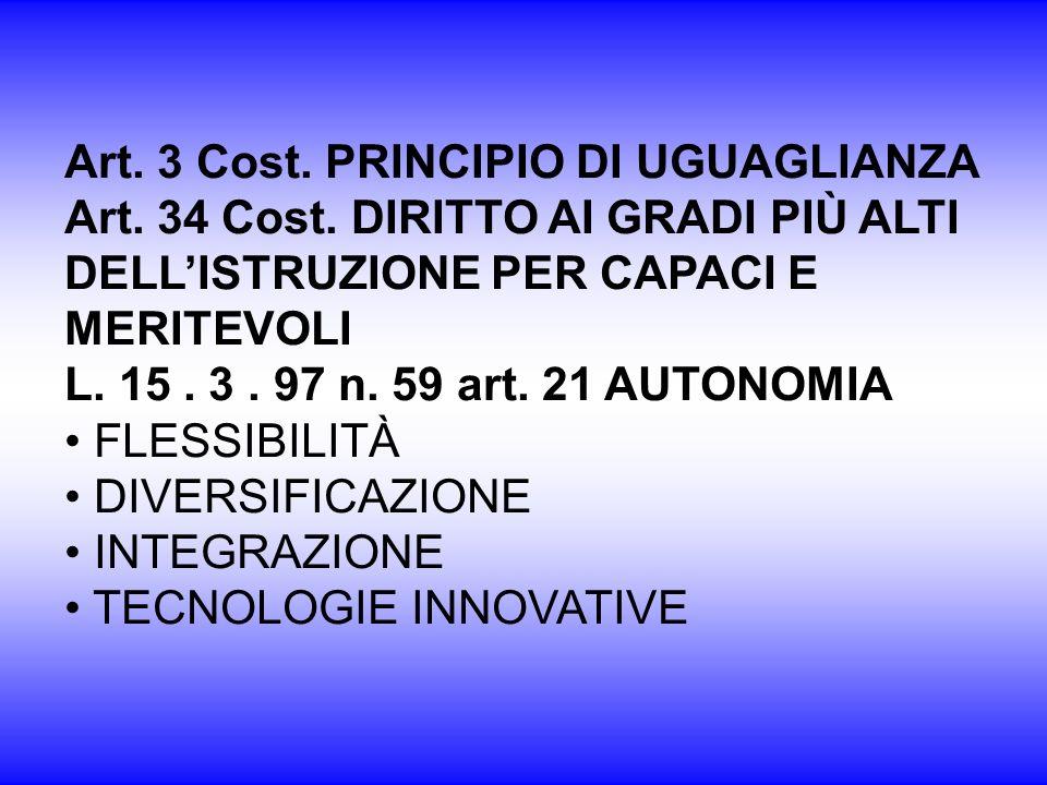 Art. 3 Cost. PRINCIPIO DI UGUAGLIANZA