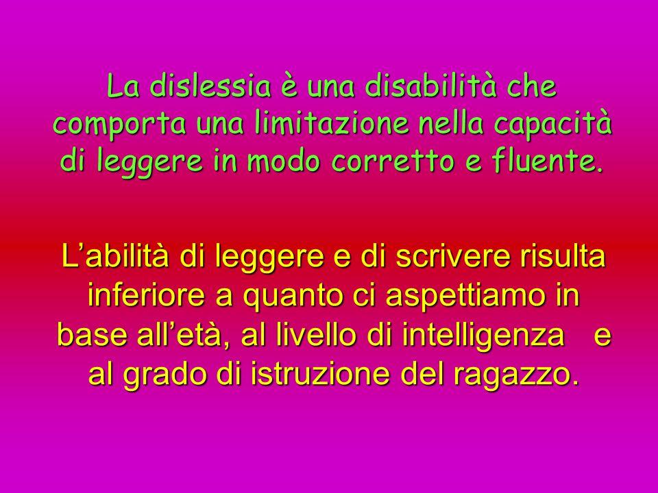 La dislessia è una disabilità che comporta una limitazione nella capacità di leggere in modo corretto e fluente.