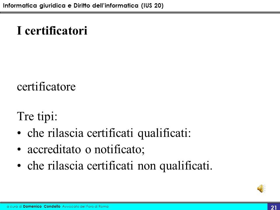 I certificatori certificatore. Tre tipi: che rilascia certificati qualificati: accreditato o notificato;
