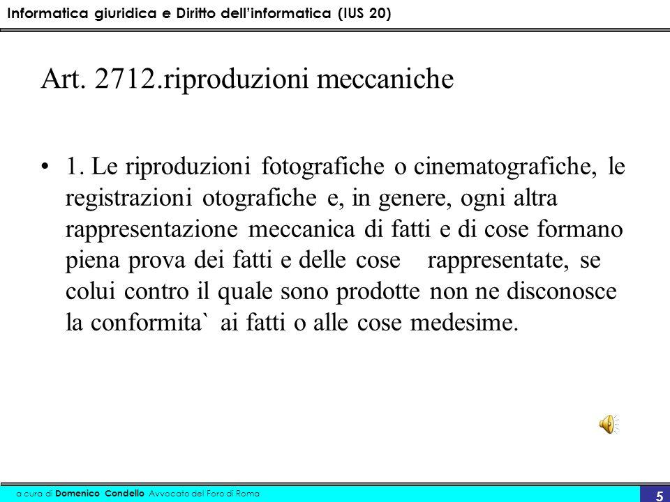 Art. 2712.riproduzioni meccaniche