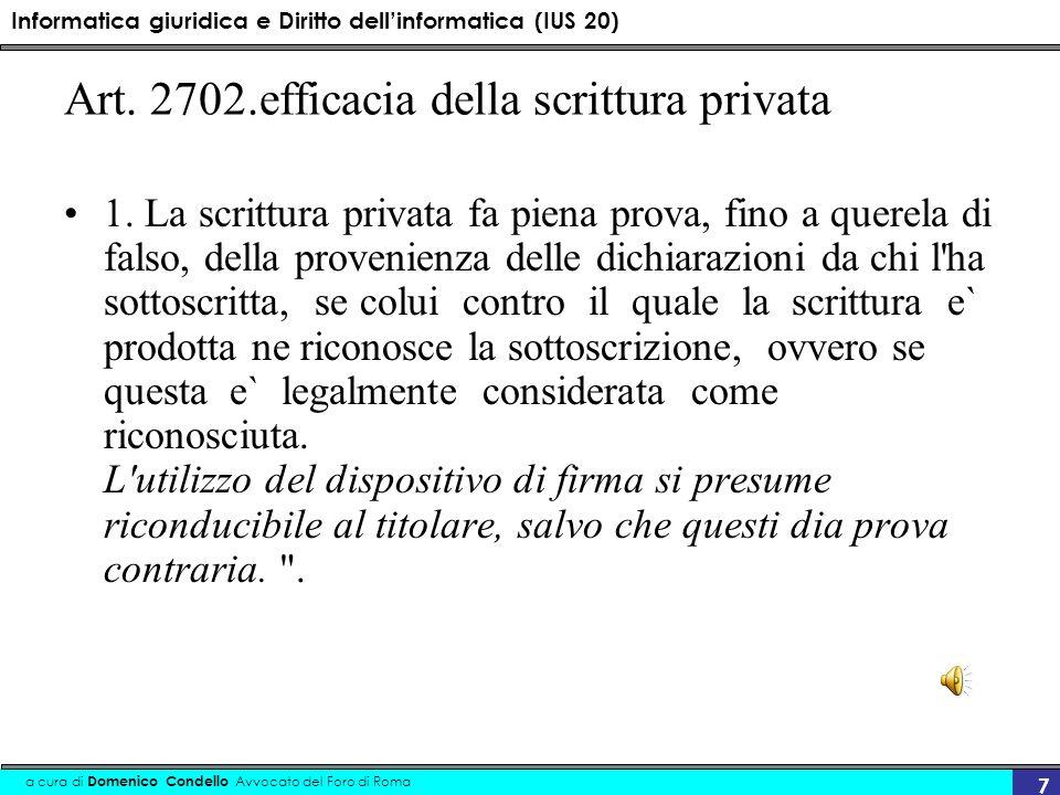 Art. 2702.efficacia della scrittura privata