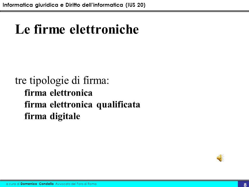 Le firme elettroniche tre tipologie di firma: firma elettronica firma elettronica qualificata firma digitale.