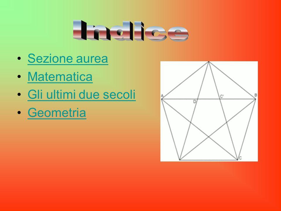 Indice Sezione aurea Matematica Gli ultimi due secoli Geometria