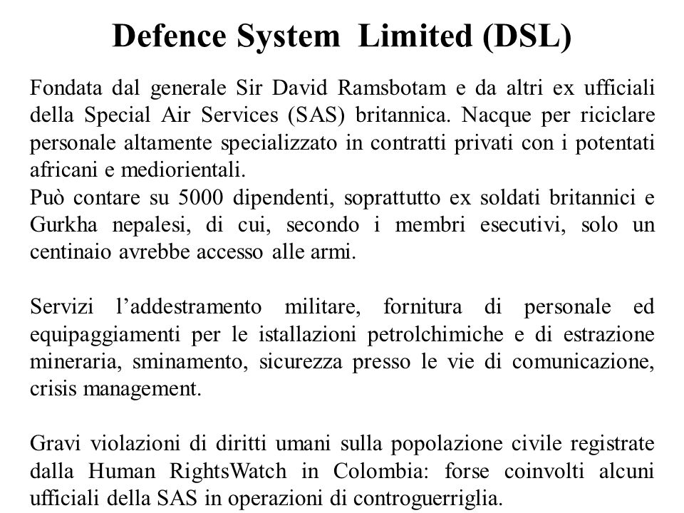 Defence System Limited (DSL)