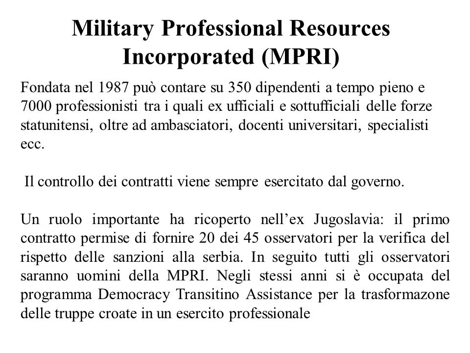 Military Professional Resources Incorporated (MPRI)
