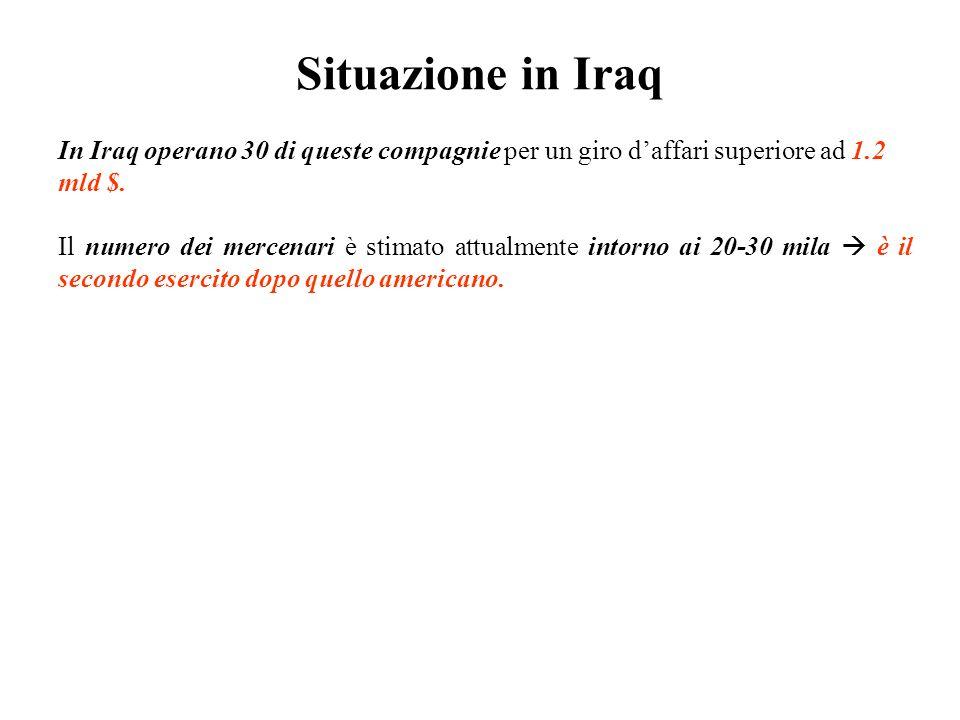 Situazione in Iraq In Iraq operano 30 di queste compagnie per un giro d'affari superiore ad 1.2 mld $.