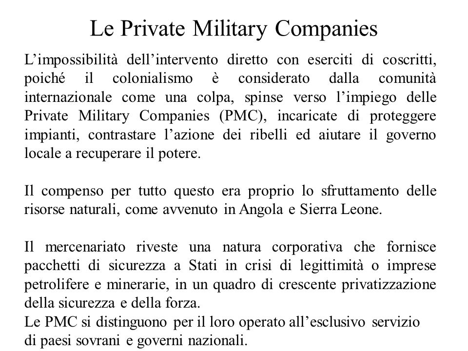 Le Private Military Companies