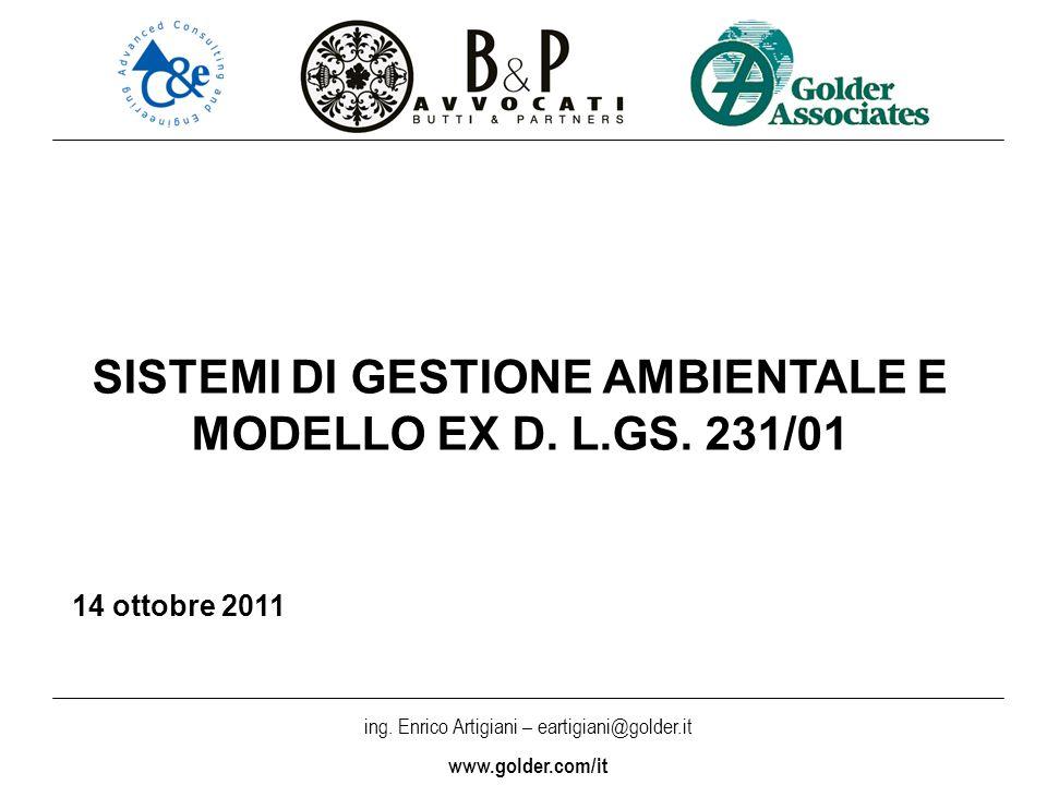 SISTEMI DI GESTIONE AMBIENTALE E MODELLO EX D. L.GS. 231/01