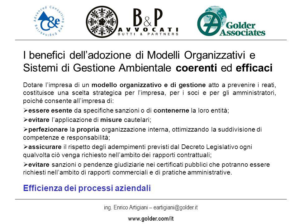 I benefici dell'adozione di Modelli Organizzativi e Sistemi di Gestione Ambientale coerenti ed efficaci