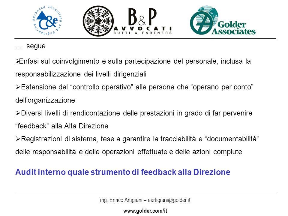 Audit interno quale strumento di feedback alla Direzione
