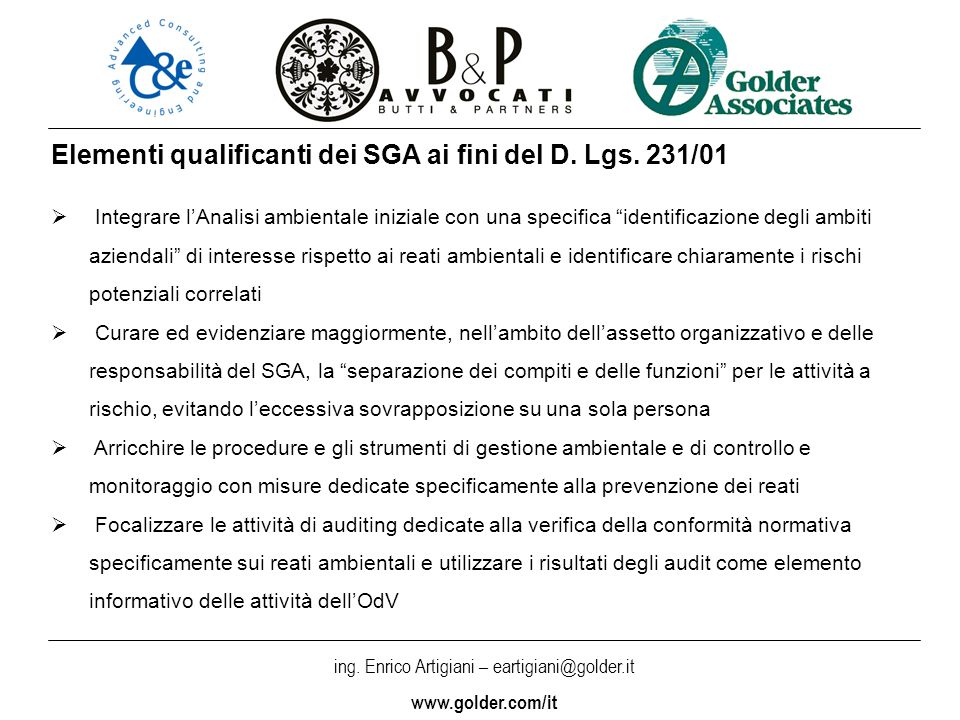 Elementi qualificanti dei SGA ai fini del D. Lgs. 231/01