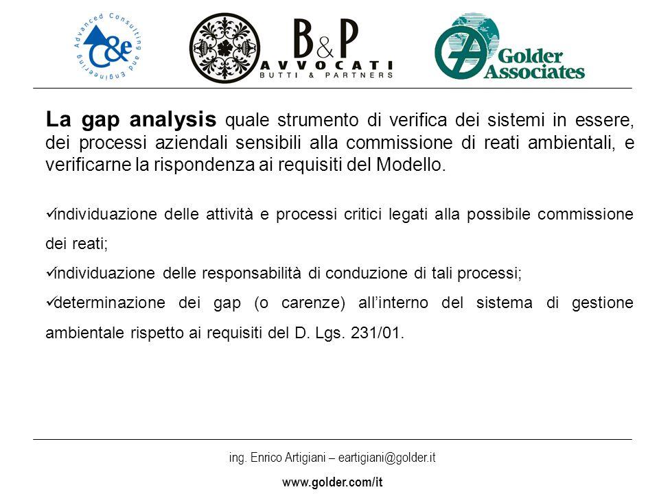 La gap analysis quale strumento di verifica dei sistemi in essere, dei processi aziendali sensibili alla commissione di reati ambientali, e verificarne la rispondenza ai requisiti del Modello.