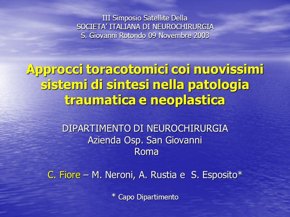 III Simposio Satellite Della SOCIETA' ITALIANA DI NEUROCHIRURGIA S