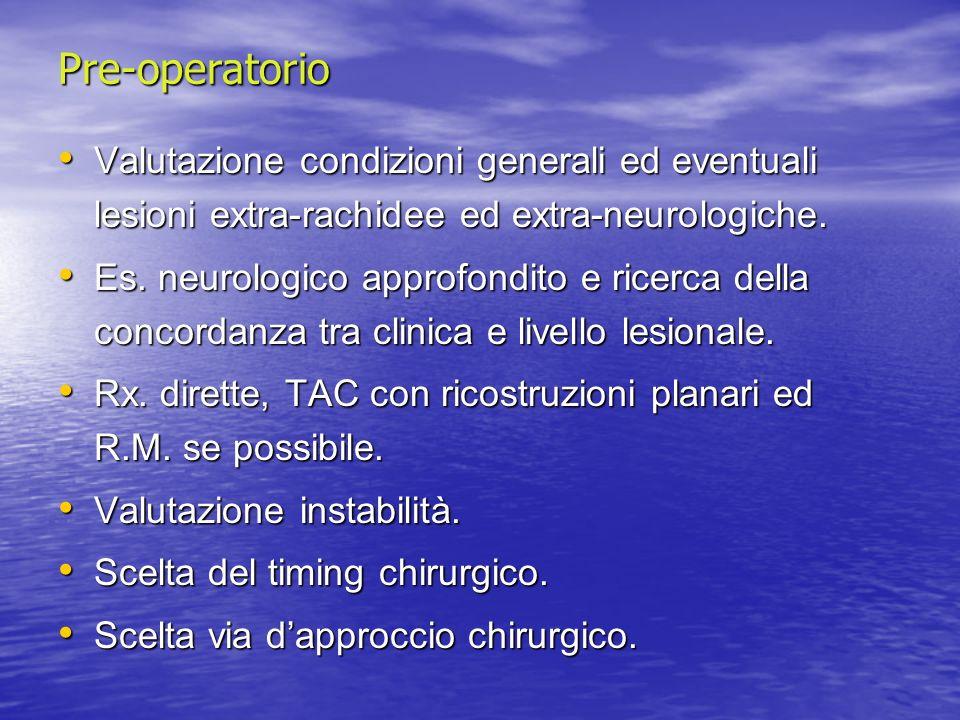 Pre-operatorio Valutazione condizioni generali ed eventuali lesioni extra-rachidee ed extra-neurologiche.