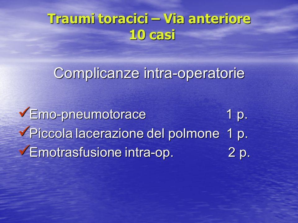 Traumi toracici – Via anteriore 10 casi