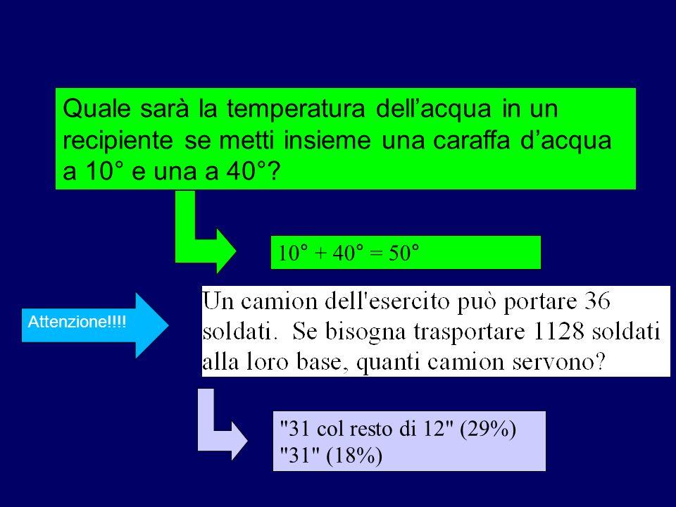 Quale sarà la temperatura dell'acqua in un recipiente se metti insieme una caraffa d'acqua a 10° e una a 40°