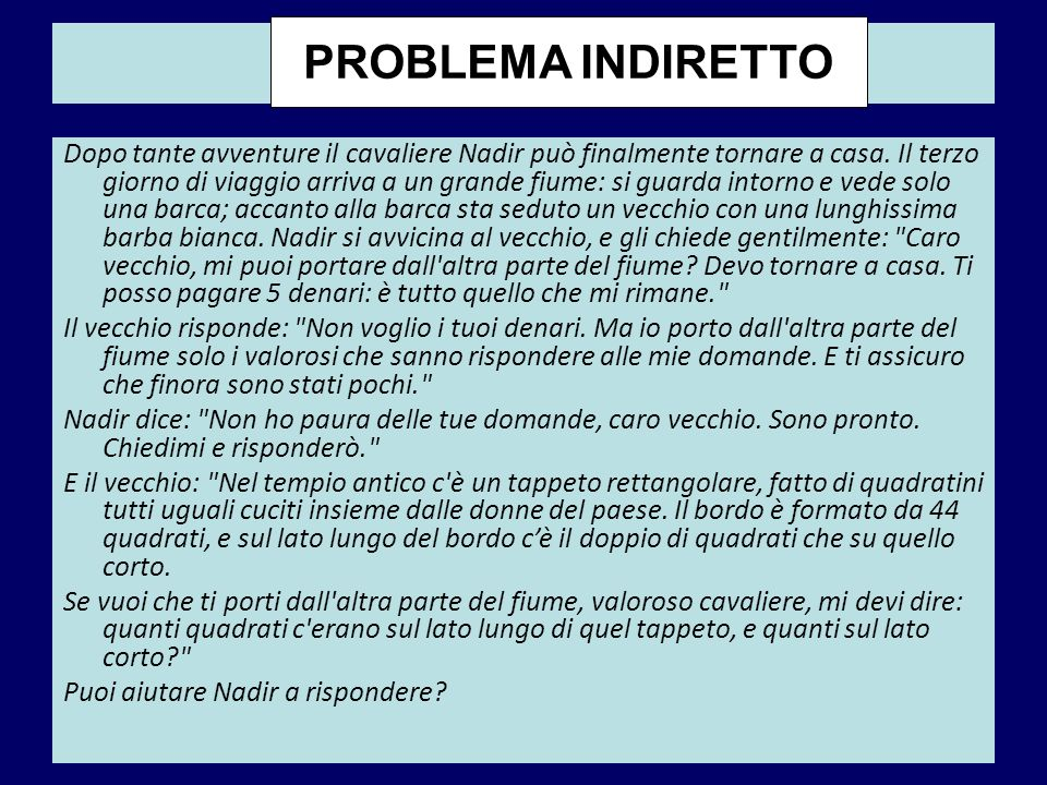 Nadir PROBLEMA INDIRETTO