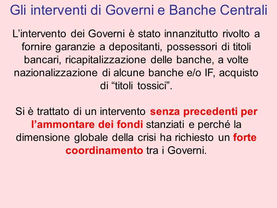 Gli interventi di Governi e Banche Centrali
