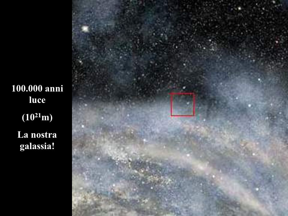 100.000 anni luce (1021m) La nostra galassia!