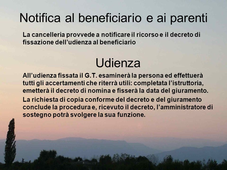 Notifica al beneficiario e ai parenti