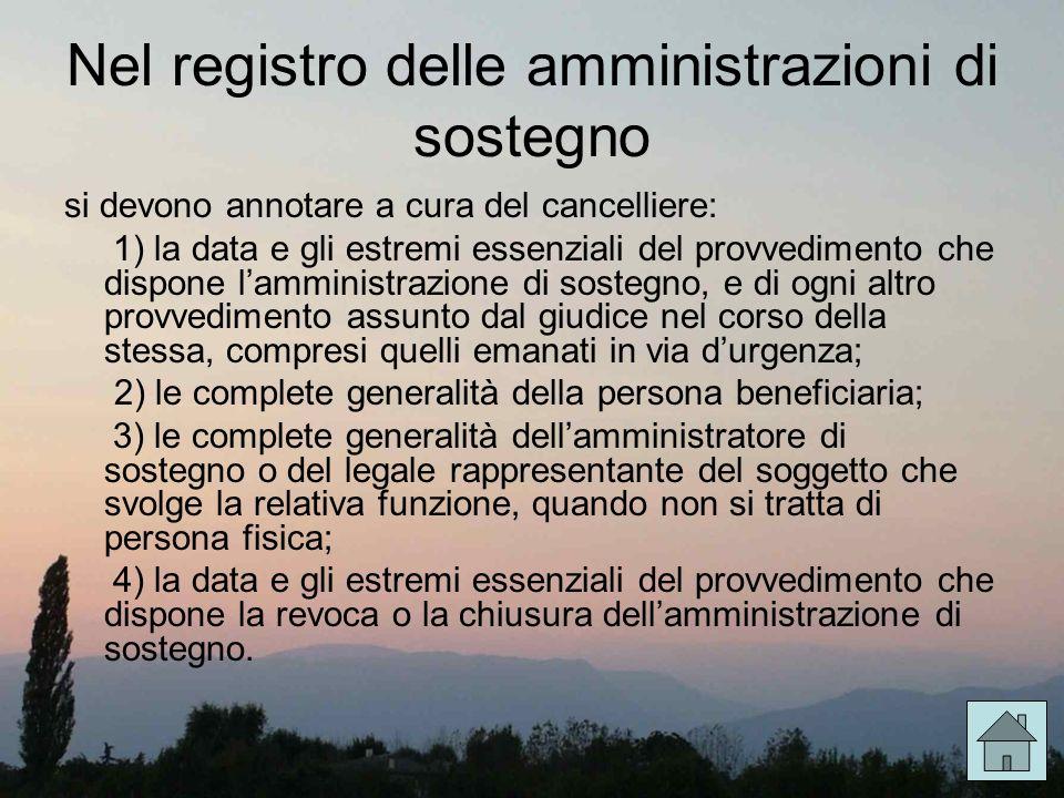 Nel registro delle amministrazioni di sostegno