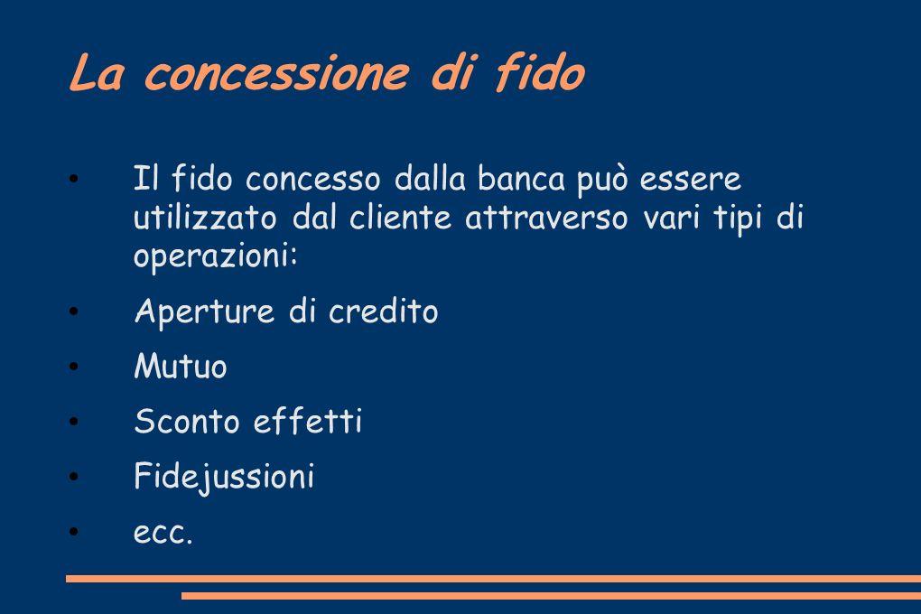 La concessione di fido Il fido concesso dalla banca può essere utilizzato dal cliente attraverso vari tipi di operazioni: