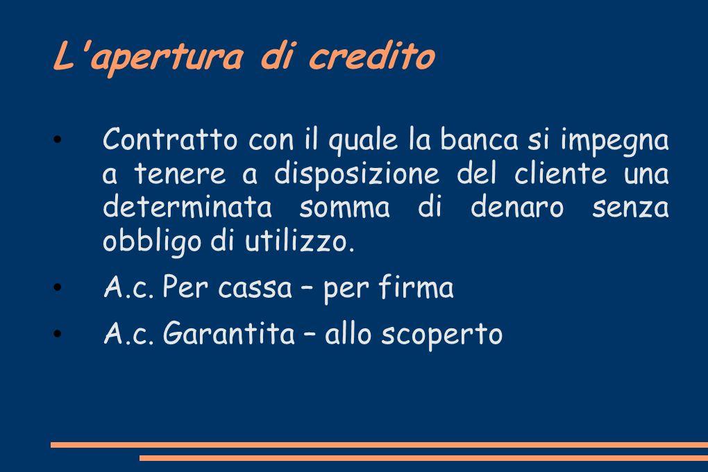 L apertura di credito