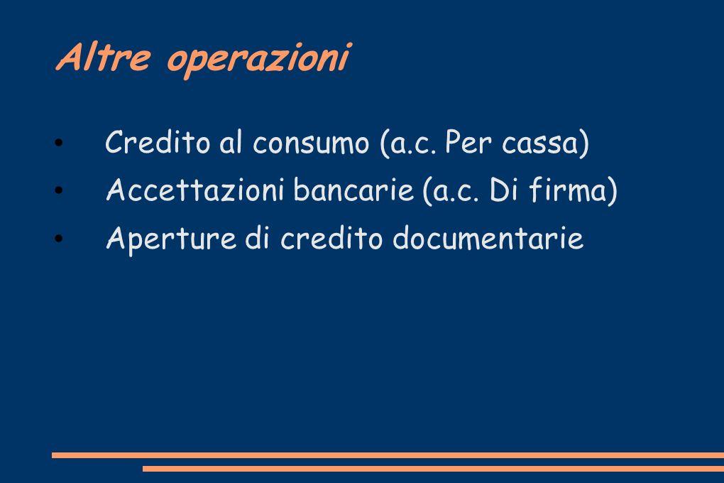 Altre operazioni Credito al consumo (a.c. Per cassa)