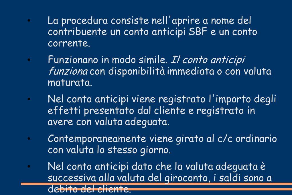 La procedura consiste nell aprire a nome del contribuente un conto anticipi SBF e un conto corrente.