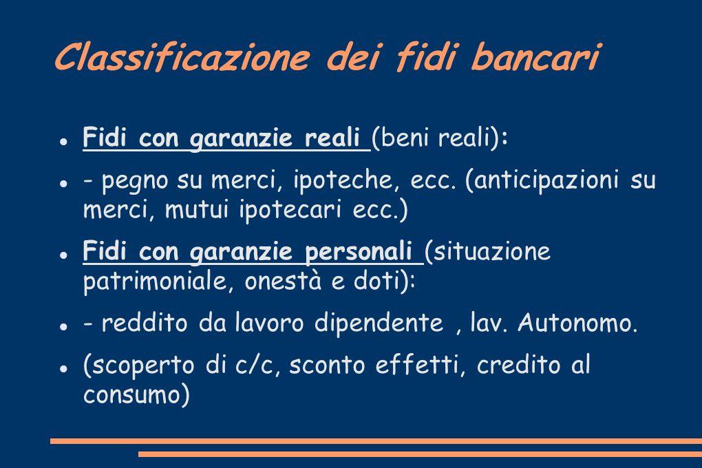 Classificazione dei fidi bancari