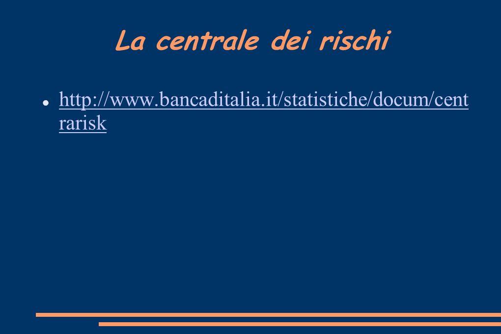 La centrale dei rischi http://www.bancaditalia.it/statistiche/docum/cent rarisk