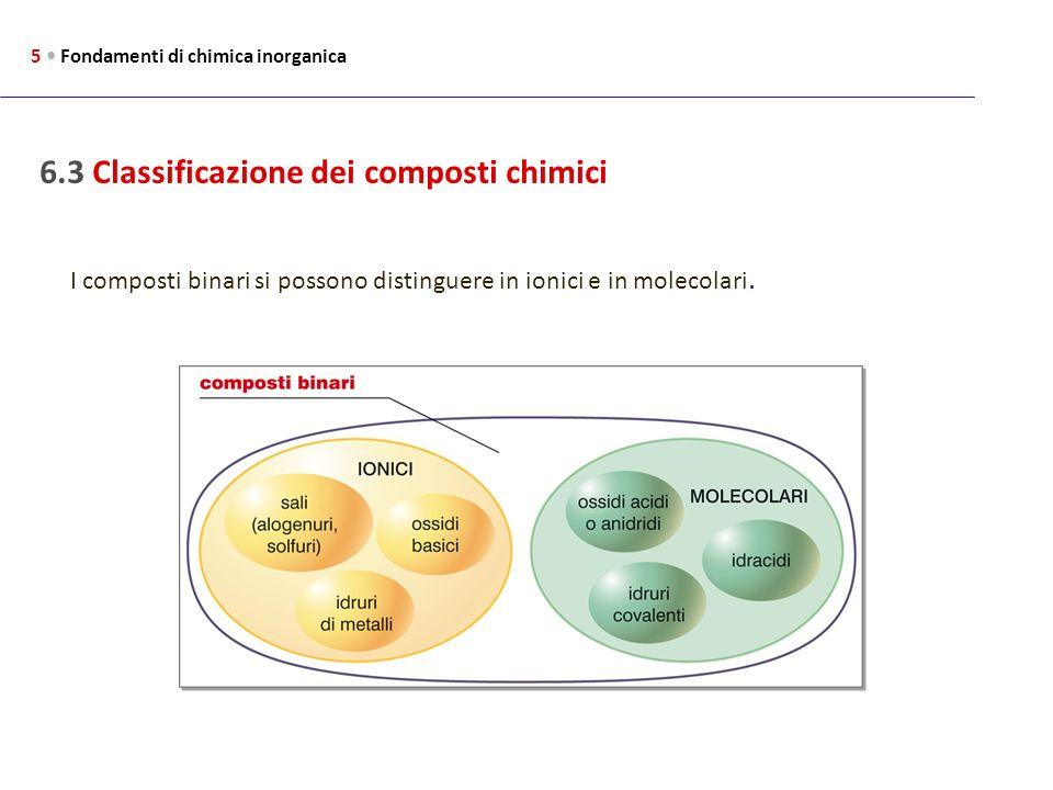 6.3 Classificazione dei composti chimici