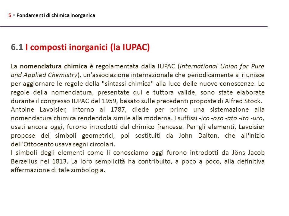6.1 I composti inorganici (la IUPAC)