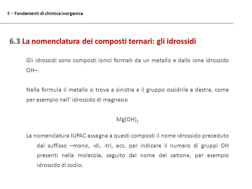6.3 La nomenclatura dei composti ternari: gli idrossidi