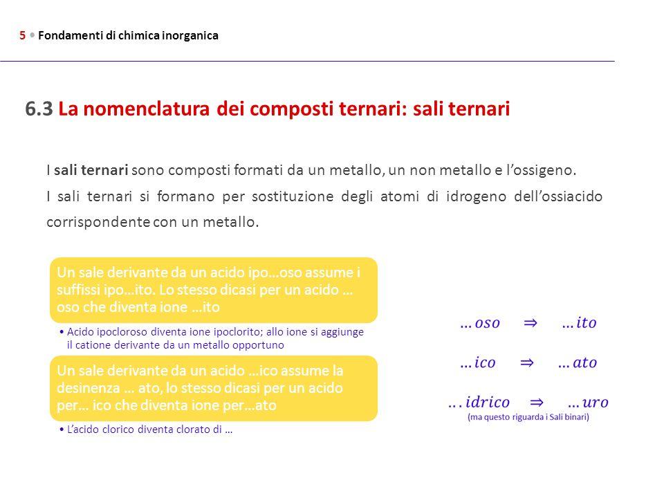 6.3 La nomenclatura dei composti ternari: sali ternari