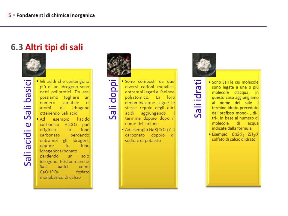 Sali acidi e Sali basici Sali doppi Sali idrati 6.3 Altri tipi di sali