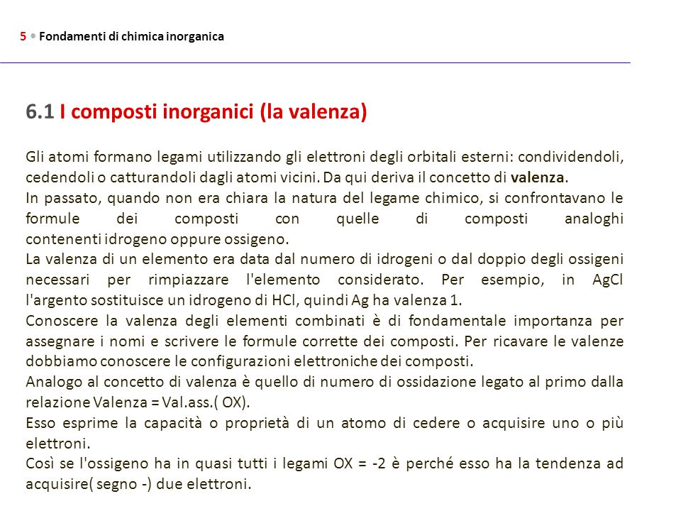 6.1 I composti inorganici (la valenza)