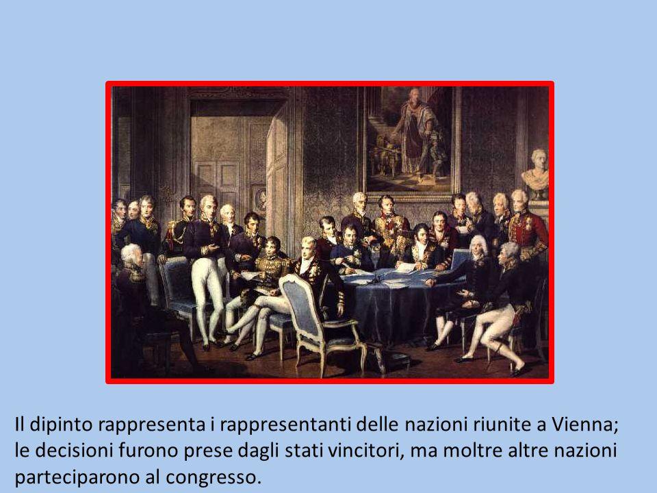 Il dipinto rappresenta i rappresentanti delle nazioni riunite a Vienna; le decisioni furono prese dagli stati vincitori, ma moltre altre nazioni parteciparono al congresso.