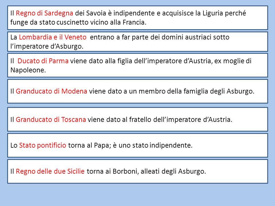 Il Regno di Sardegna dei Savoia è indipendente e acquisisce la Liguria perché funge da stato cuscinetto vicino alla Francia.