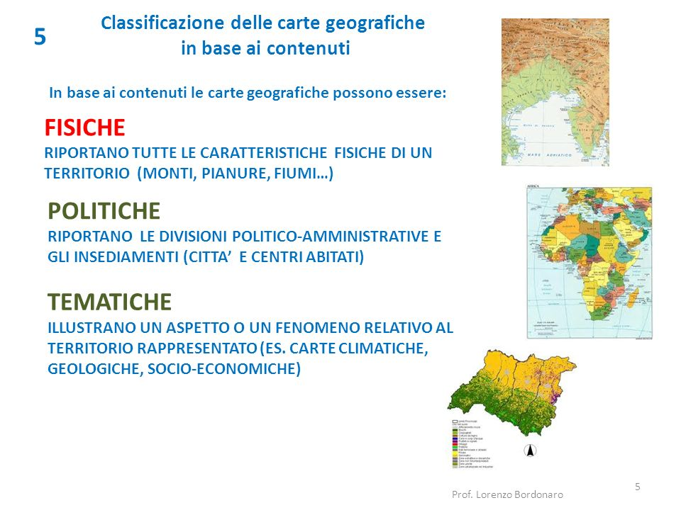 Classificazione delle carte geografiche in base ai contenuti