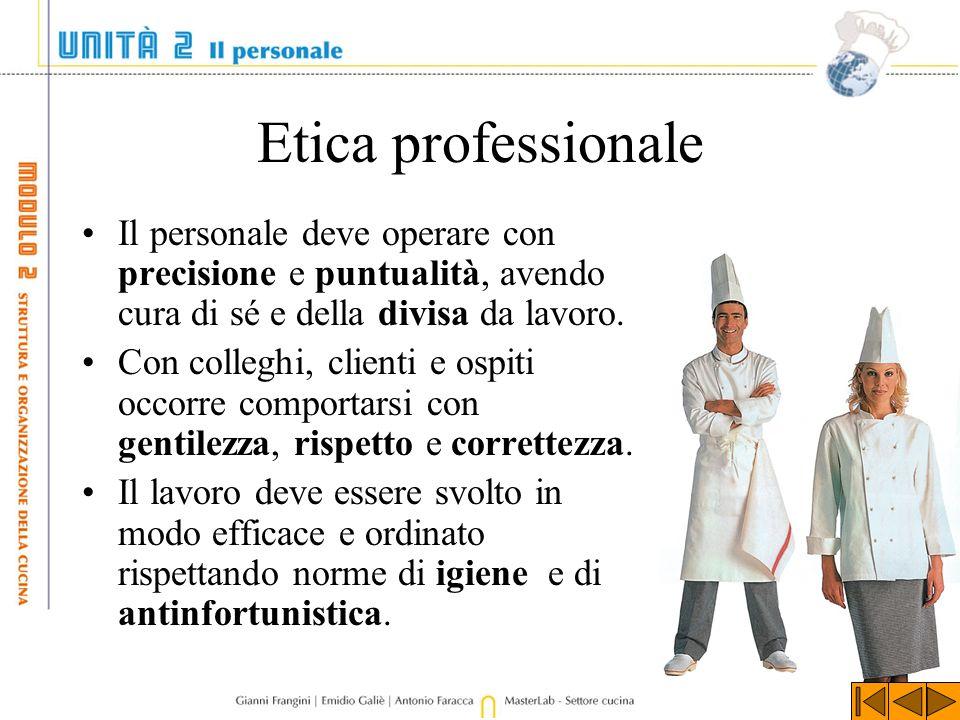 Etica professionale Il personale deve operare con precisione e puntualità, avendo cura di sé e della divisa da lavoro.