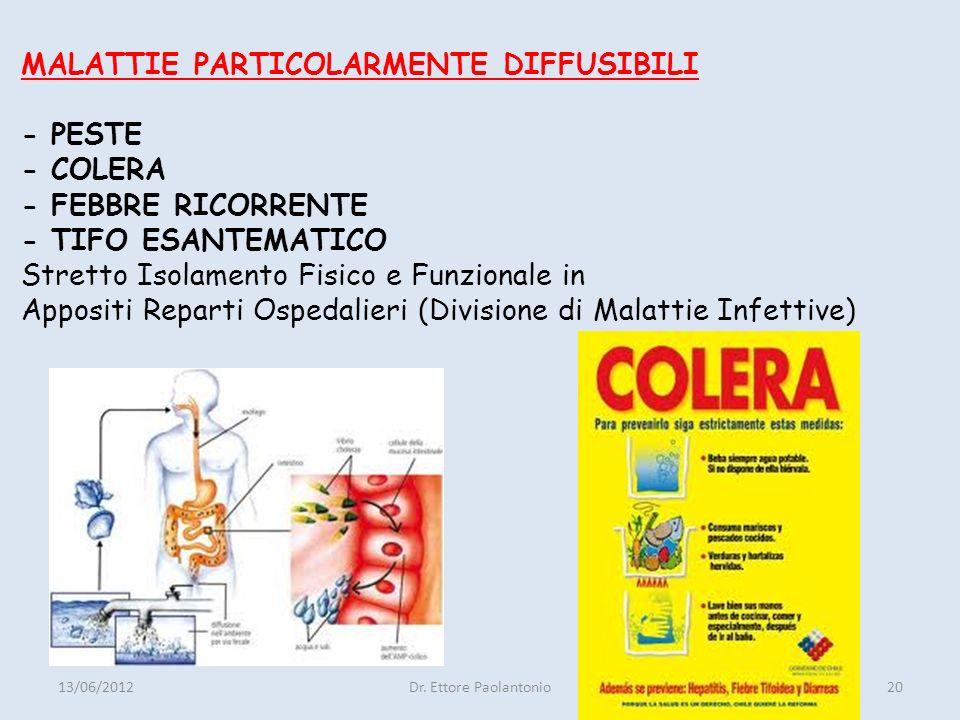 MALATTIE PARTICOLARMENTE DIFFUSIBILI - PESTE - COLERA - FEBBRE RICORRENTE - TIFO ESANTEMATICO Stretto Isolamento Fisico e Funzionale in Appositi Reparti Ospedalieri (Divisione di Malattie Infettive)
