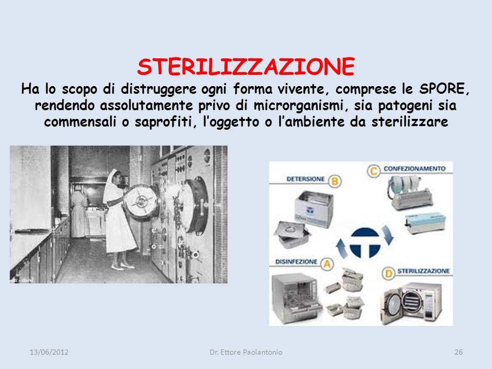 STERILIZZAZIONE Ha lo scopo di distruggere ogni forma vivente, comprese le SPORE, rendendo assolutamente privo di microrganismi, sia patogeni sia commensali o saprofiti, l'oggetto o l'ambiente da sterilizzare