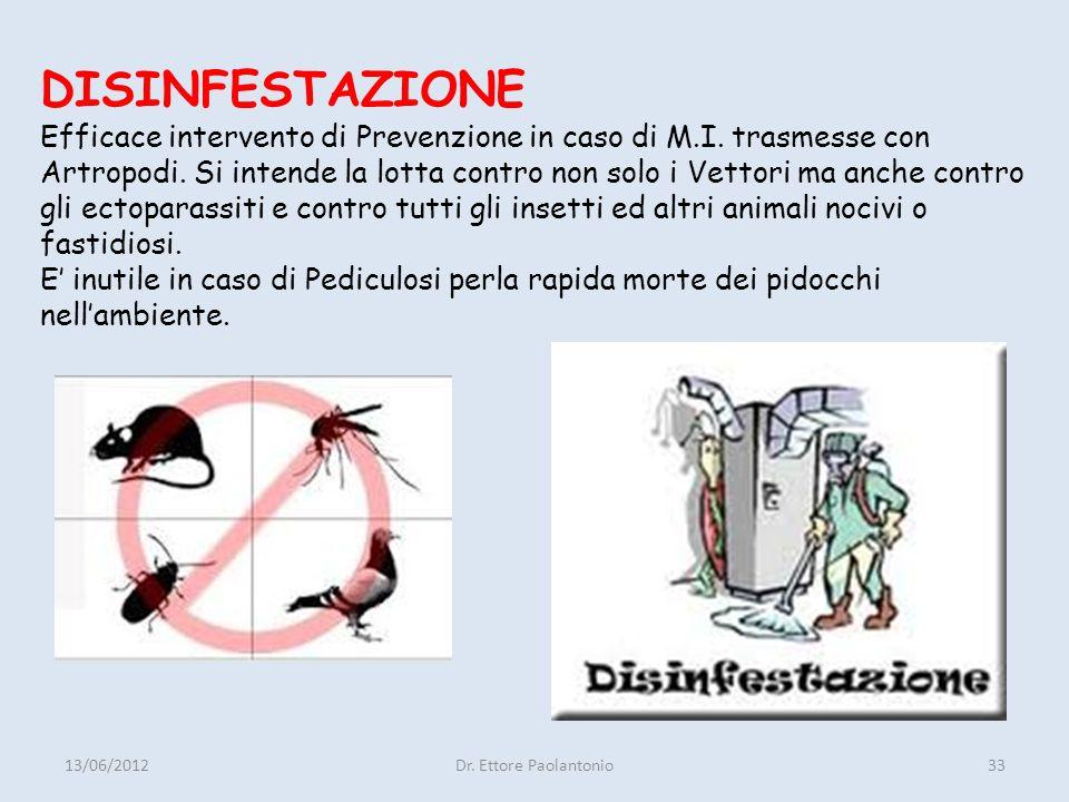 DISINFESTAZIONE Efficace intervento di Prevenzione in caso di M. I