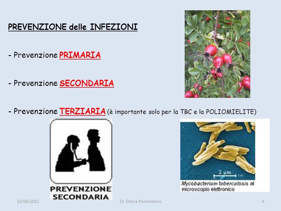 PREVENZIONE delle INFEZIONI - Prevenzione PRIMARIA - Prevenzione SECONDARIA - Prevenzione TERZIARIA (è importante solo per la TBC e la POLIOMIELITE)