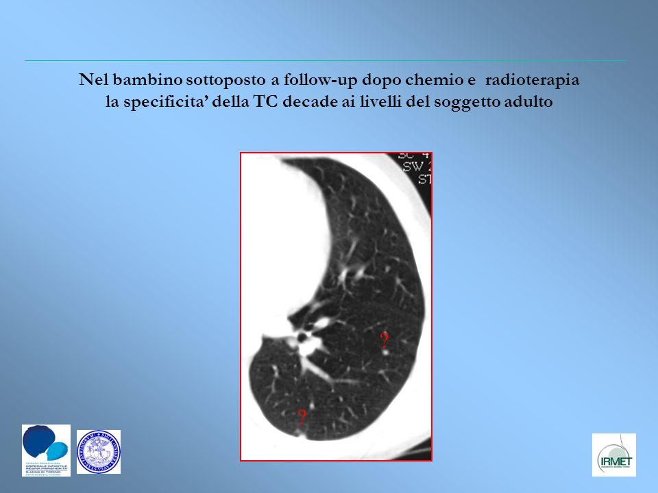 Nel bambino sottoposto a follow-up dopo chemio e radioterapia la specificita' della TC decade ai livelli del soggetto adulto
