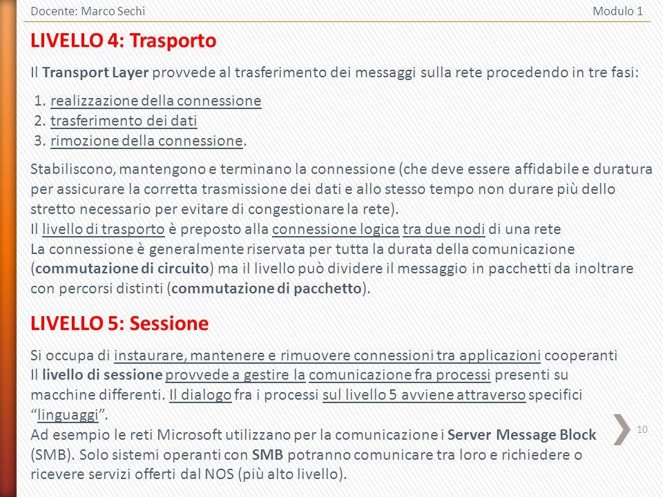LIVELLO 4: Trasporto LIVELLO 5: Sessione
