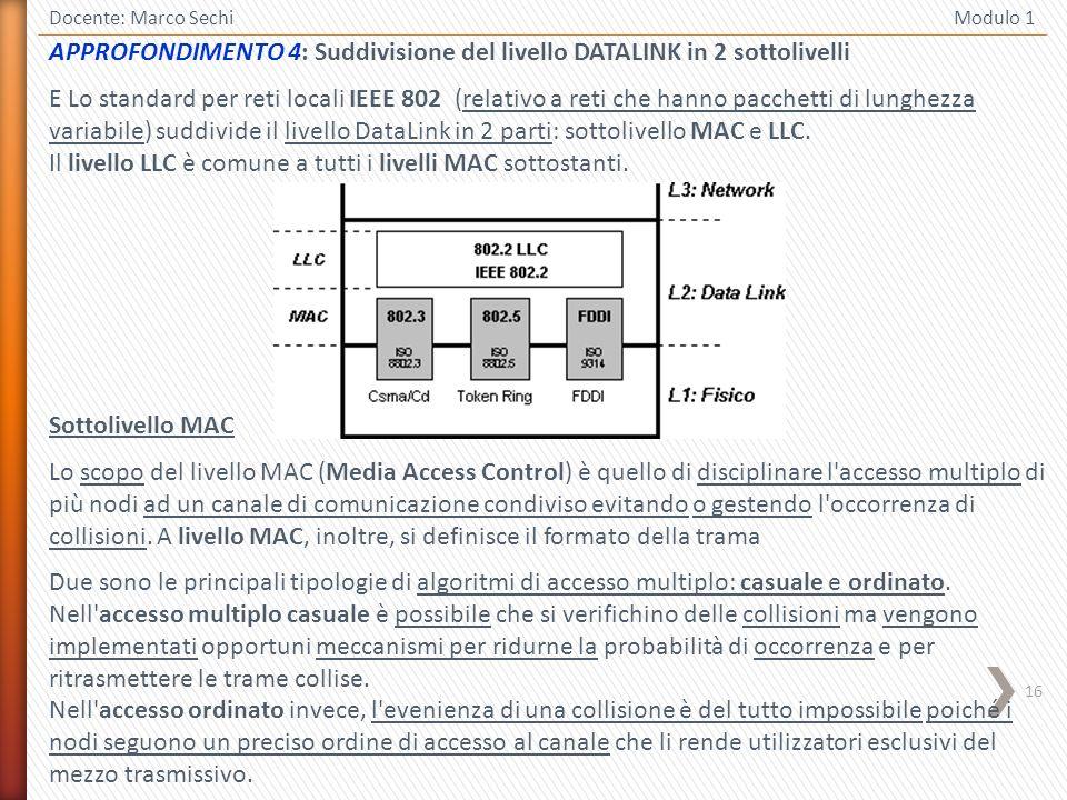 APPROFONDIMENTO 4: Suddivisione del livello DATALINK in 2 sottolivelli